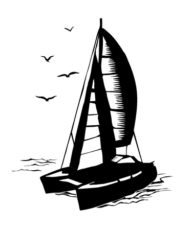 Silhouette monocromatico a vela da catamarano Vettoriali