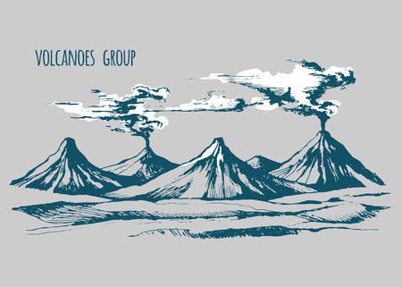 smoky mountains: Smoke before the eruption Illustration