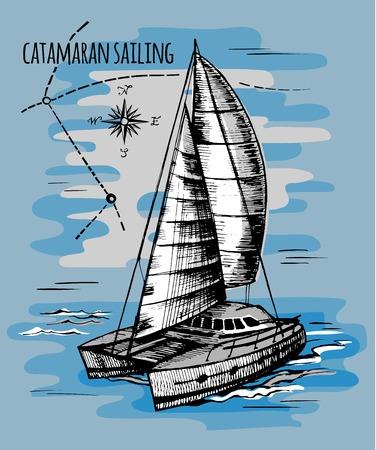 Catamaran sailboat regatta summe Illustration