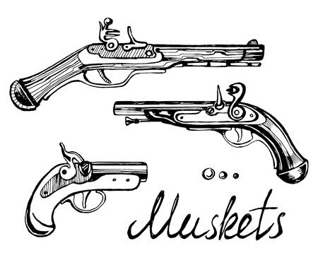 Muskets set different guns Çizim
