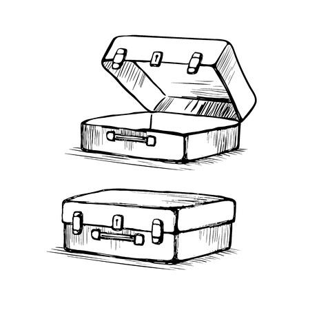 スーツケースは開閉  イラスト・ベクター素材