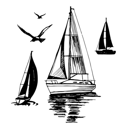 Sea yachts. Flying seagulls.