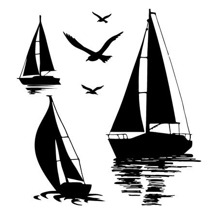 Sylwetka żeglowanie łódź na białym tle.