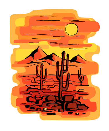 cacti at sunset Illustration