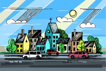 colore ink urban sketch.