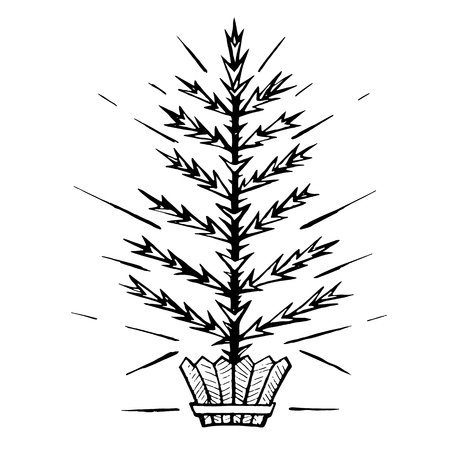 Christmas tree stylized in a pot.