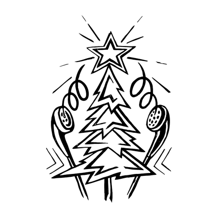 Christmas tree with music headphones. 矢量图像
