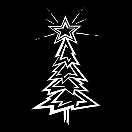 Hand-drawn christmas tree stylized