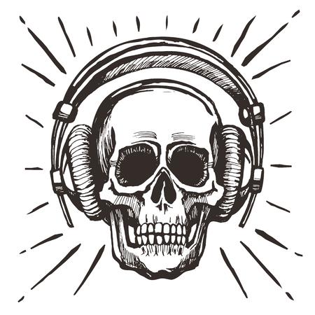 Human skull listening music
