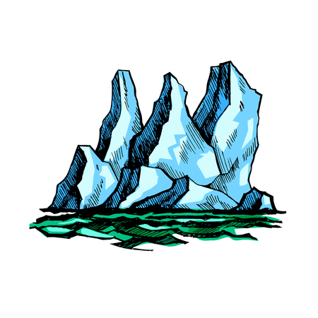 The tip of the iceberg above the water. Vector color sketch.
