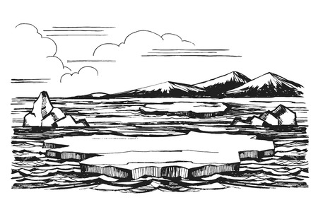 Iceberg sketch of a hand-drawn cartoon landscape in Antarctica. Ice floes against a background of snow-capped mountains illustration.