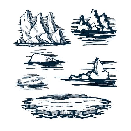Iceberg ice blocks illustration.