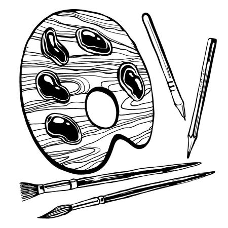 Artistic palette for painting vector illustration Illustration