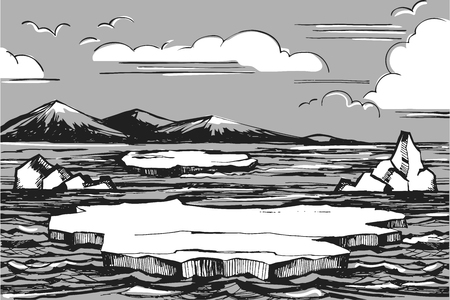 Northern landscape sketch vector illustration