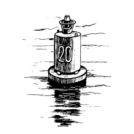 Warning buoy at the river banks vector