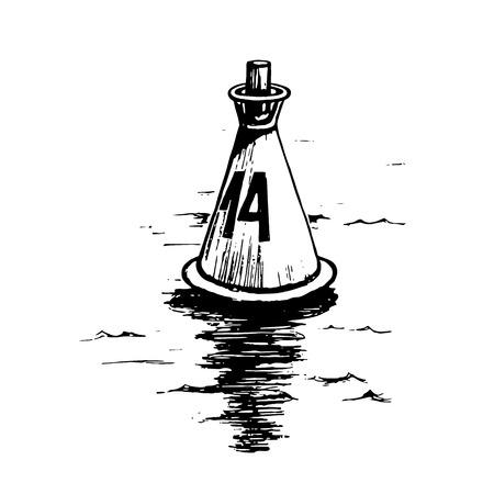 Sea buoy sketch Illustration