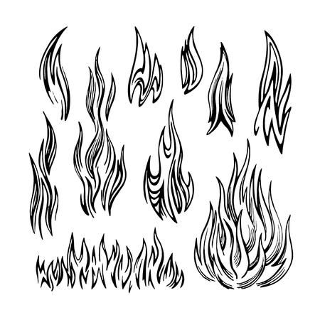 Flame Fire Set sketch Illusztráció