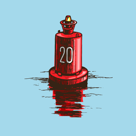 Warning buoy at the river banks. Vector colored sketch by hand drawn isolated on white background. Иллюстрация