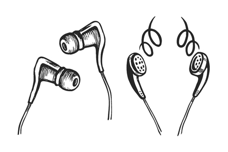 Headphones mobile doodle sketch style set. Hand drawing vector illustration.  イラスト・ベクター素材
