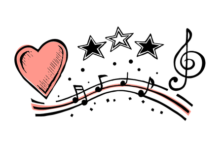 Musical notes and heart sketch