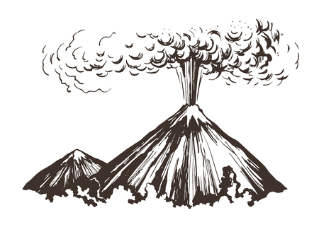 Eruption. Mountains sketch