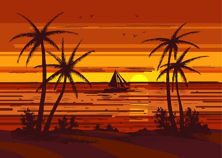 palm tree colored Çizim