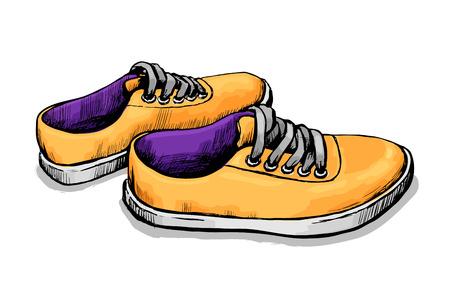 Sneaker für den täglichen Spaziergang. Modische und bequeme Sportschuhe. Farbvektorskizze.