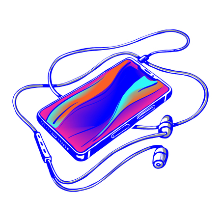 Bright vector sketch, smartphone with headphones and cable. Listen to music.