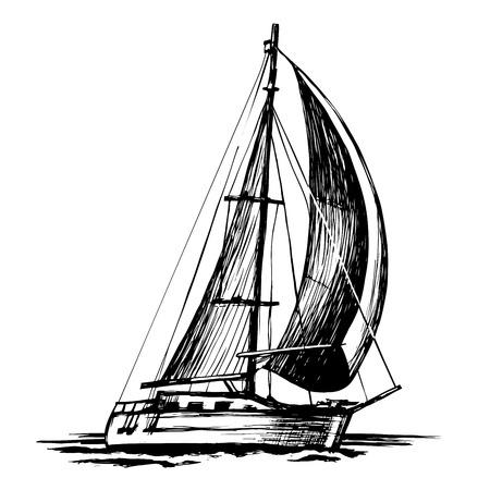Abbozzo di vettore della barca a vela, onde isolate e stilizzate. Uno yacht marino a un albero galleggia sulla superficie dell'acqua. Vettoriali