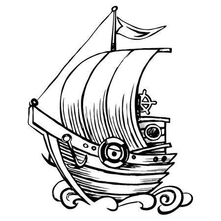 Stylized sailing wooden. Old caravel, vintage sailboat. Hand drawn sketch