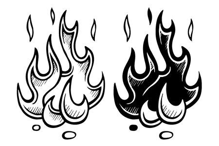 Flame of fire stylized sketch hand-drawing  monochrome vector set