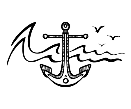 Sea anchor stylized on the background of the wave and seagulls. Illustration