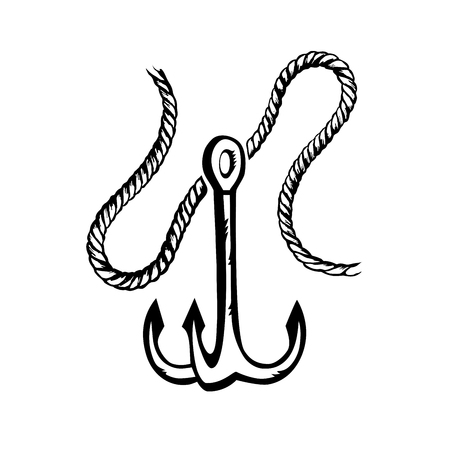 Nautical anchor with rope. Hand drawn vector. Black and white illustration. Stok Fotoğraf - 127087782