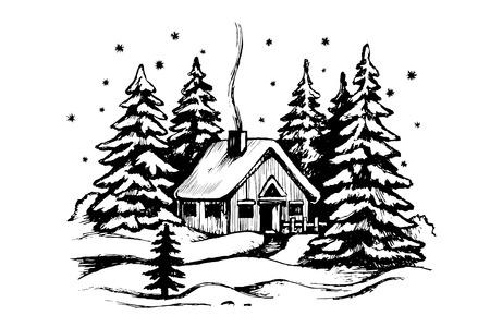 Casa in legno nella foresta invernale. Paesaggio panoramico idilliaco con cabina. Schizzo di vettore in bianco e nero. Paesaggio innevato con casa.