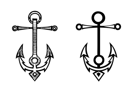 Sea anchor sketch by hand-drawn and simplified set silhouette Ilustrace
