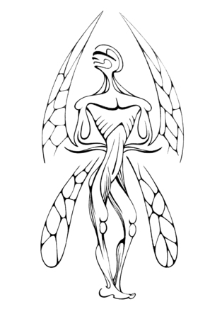 Stylized sketch of a man with dragonfly wings. illustration Stok Fotoğraf