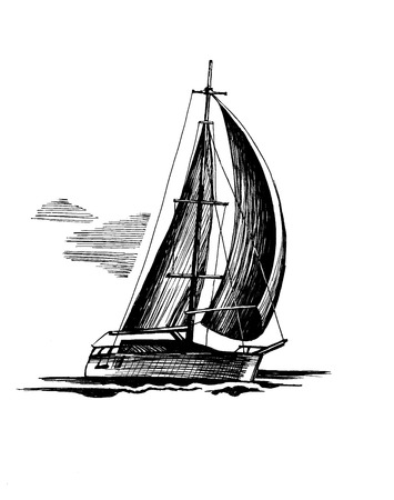 Sailboat  sketch, isolated and stylized waves. A sea single-masted yacht floats on the surface of the water. Stock Photo