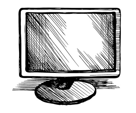 Hand drawn computer monitor vector  sketch  illustration. Isolated on a white background.