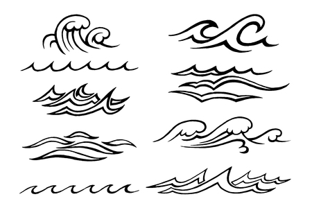 Hand-drawn vector sketch. Sea waves set of different shapes and speakers isolated on white background. Stok Fotoğraf - 126008885