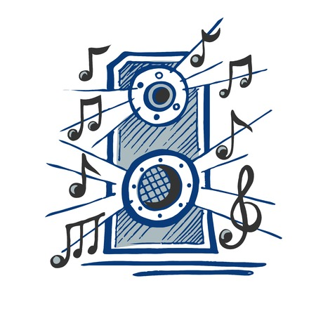 Music speaker vector sketch Çizim