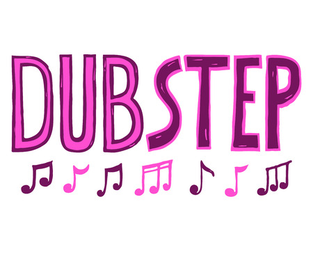 Lettering letters and notes sounds.Dubstep music style vector sketch Çizim