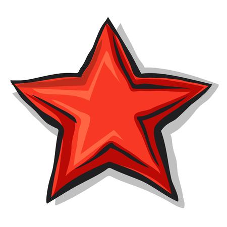 Big cartoon red star with shadow and black contour Çizim