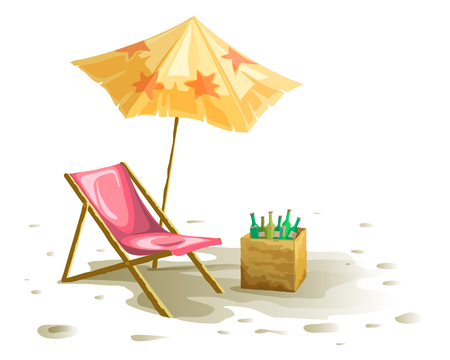 Beach chair and umbrella isolated on white background with shadow. Drink basket vector drawing. Çizim