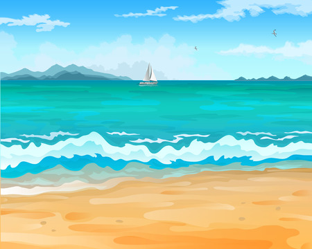 Vector cartoon style background of sea shore. Sailboat on the horizon against the backdrop of mountains. Good sunny day. Çizim