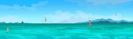 Panorama de paysage marin. Mer verte de vecteur, fond de ciel, yacht et mouettes.