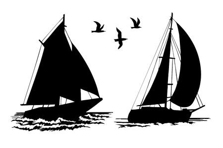 Silhouettes of sailing yachts and seagulls Çizim