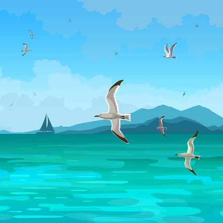 Sea gulls landscape vector. Flying seagulls on the background of the sea. Sky with clouds and mountains on the horizon. Sailboat silhouette. Çizim