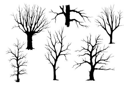 Trunks of trees vector silhouette set