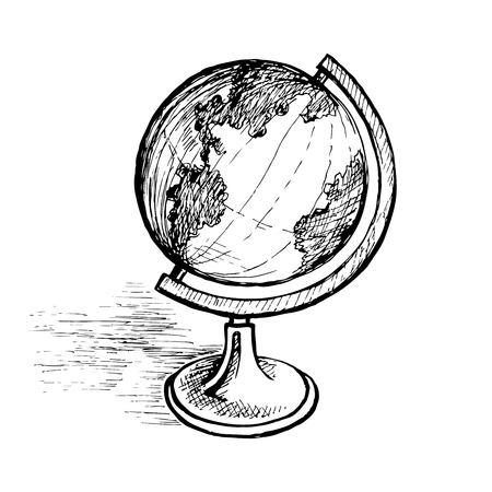 Globe on the stand. Hand drawing vector sketch monochrome illustration.