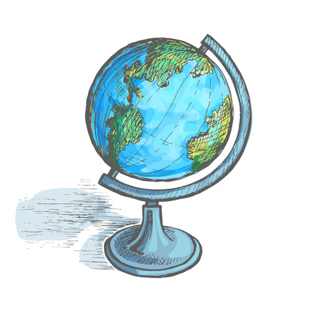 Globe on the stand. Hand drawing vector sketch colored illustration.